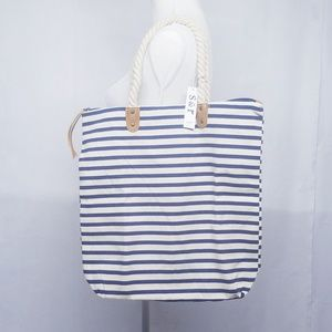 Summer & Rose Striped Tote Bag Brittany Navy Blue